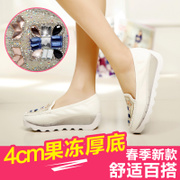 2015 spring new thick-soled shoes and soft bottom shallow lazy leisure shoes wedges shoes foot bean shoes of summer