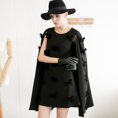 Europe Spring three-dimensional bow summer dress New England Cape dress retro black-capped skirt 9207