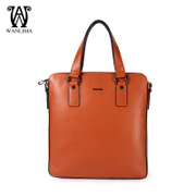 Wan Lima vertical single diagonal shoulder bag leather handbag business casual Briefcase man bag