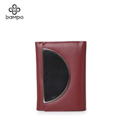 Banpo wallet ladies cropped leather contrast color double antique buckle much fine decorative hardware card wallet