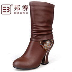 Genuine State game middle-aged woman boots suede cowhide leather boots fashion women's boots-in-tube clearance specials