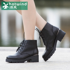 Hot casual women's shoes England tie booties female the first layer of leather short boots H81W5420