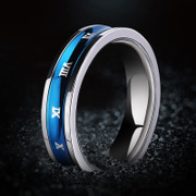 Rotatable! Korean fashion titanium steel rings men''s index finger ring personalized Roman numeral flashes lettering and ornaments