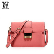 Wan Lima woman for 2015 winter new square leather shoulder bag with small macarons Candy-colored wave packet
