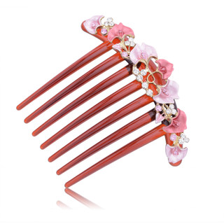 Good hair jewelry Korea flower rhinestone hair tiara comb issuing Pan head plug comb insert made by the bride
