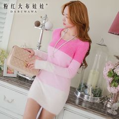 Long hair big pink doll summer 2015 new women's long sleeve turtleneck dress t