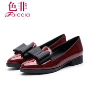 Faiccia/non fall 2015 limited authentic new counters pointed bow chunky heels shoes 7803