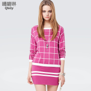 Linda 2015 spring new Qing bi ladies long sleeve Plaid knit sweater twin set-striped suits dresses