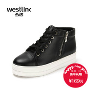 West fall 2015 new women shoes casual shoes PU leather zipper thick-soled platform shoes