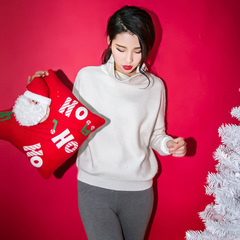 QUEENZZ Europe and the socialite winds fall/winter 2014 new flocked rabbit simple Joker Turtleneck Sweater