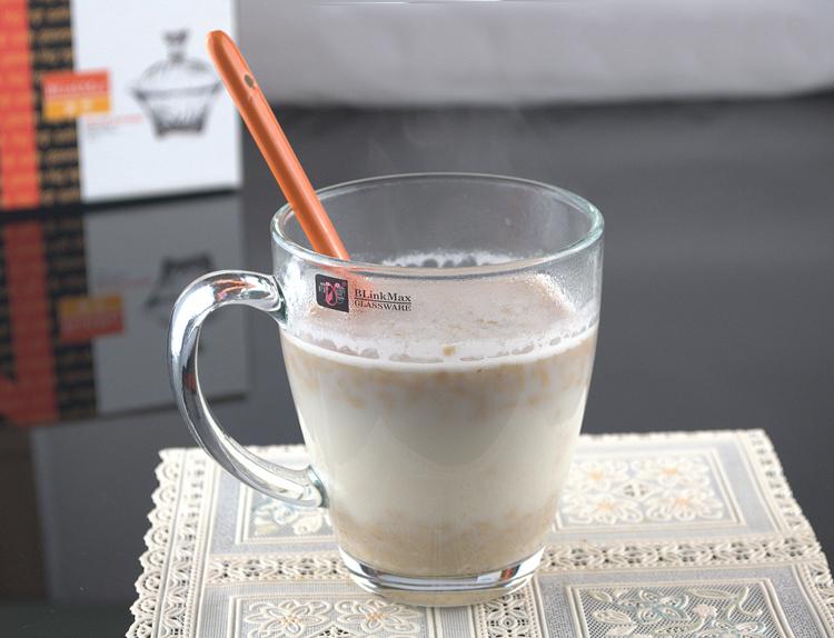丽尊大号透明玻璃把杯茶水果汁牛奶饮料咖啡豆浆杯马克杯家用餐厅