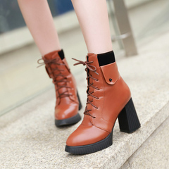 2015 new Europe in autumn and winter wind Martin boots pointed toes high heels short boots with waterproof boots chunky heels and bare boots