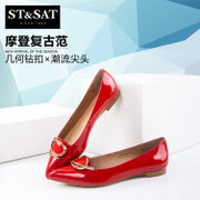 St&Sat/Saturdays-fall 2015 new Sheepskin metal rhinestone pointy flat women's shoes SS53115727