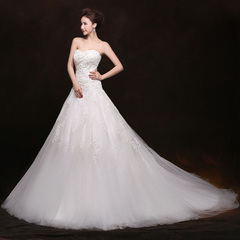 2015 new spring trail a Korean version of the shoulder wedding dresses plus size lace customized South Korea version of the code in a wedding dress
