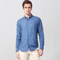 UCLA2018新款春夏季男装商务时尚休闲 透气亚麻衬衣 修身长袖衬衫
