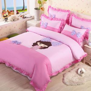 卡通纯棉儿童四件套全棉女孩床单被套公主风1.5/1.8m床上用品韩式