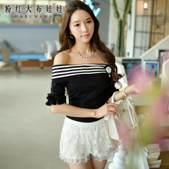 Summer t shirts women's one shoulder pink doll summer dress strapless blouses short sleeve t shirt women
