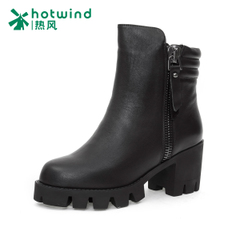 Hot air in winter and plush short boots high heel short boots women thick with simple casual shoes of England H84W5440