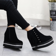 Autumn in Europe and America the new diamond super high heels short boots women head thick end of one sweet tassel boots waterproof women''s boots
