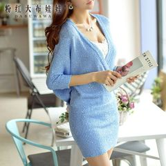 Autumn dress big pink doll 2015 new slim hip deep v neck bat sleeve knitted dress