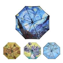 三折梵gl0伞星空伞ny女用双层黑胶油画伞晴雨两用伞23寸包邮