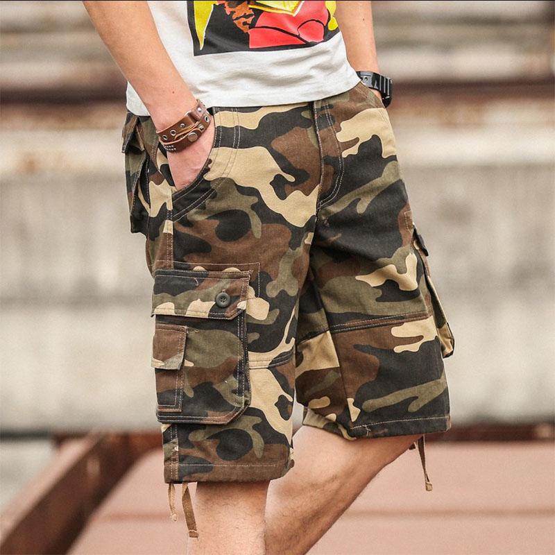 夏季迷彩裤男士短裤夏天休闲裤子中裤工装沙滩裤五分马裤多口袋潮