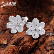 Trail fashion quality hypoallergenic S925 silver fungus nails the Moon Japanese and Korean small Sterling Silver earrings jewelry matching accessories