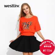 Westlink/West-fall 2015 new leisure sleeve loose women's letters printed sleeve blouse
