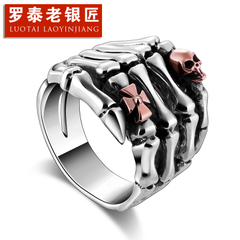 Chandos and old silversmiths domineering personality style retro Palm Thai silver skull ring 925 Silver ring men
