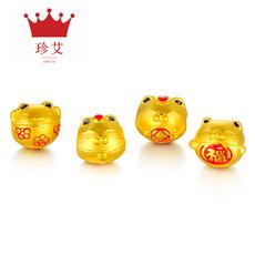 珍艾招财猫转运珠手链男韩版足金黄金手链女士3D硬金情侣宝宝手链