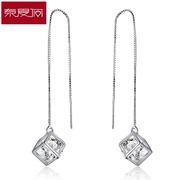 New year happiness Rubik''s cube tramline female Japanese and Korean long simple tassels gift 925 Silver jewelry earrings are hypoallergenic