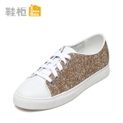 SHOEBOX shoe 2016 increases glitter shoes flat round head with strappy shoes low 1116101121
