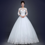 2015 new simple spring wedding dresses fashion line bridal lace one shoulder long sleeve slim Natsume