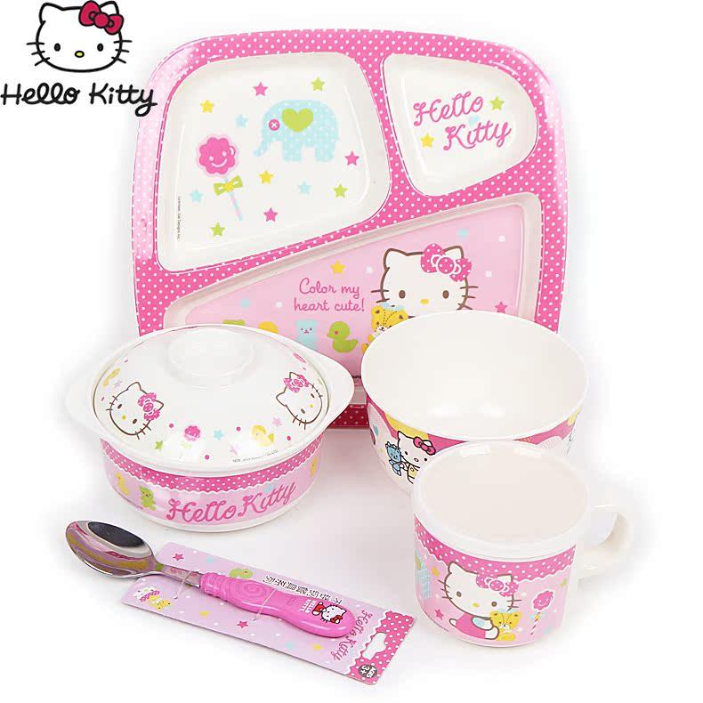 hellokitty儿童餐具套装女童餐盘碗幼儿可爱凯蒂猫宝宝碗筷勺组合