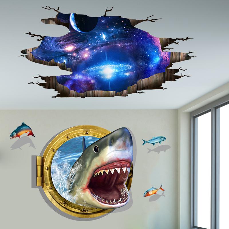海鲜餐厅墙贴3d立体浮雕画店铺装饰螃蟹鲨鱼壁画电视背景墙壁贴纸