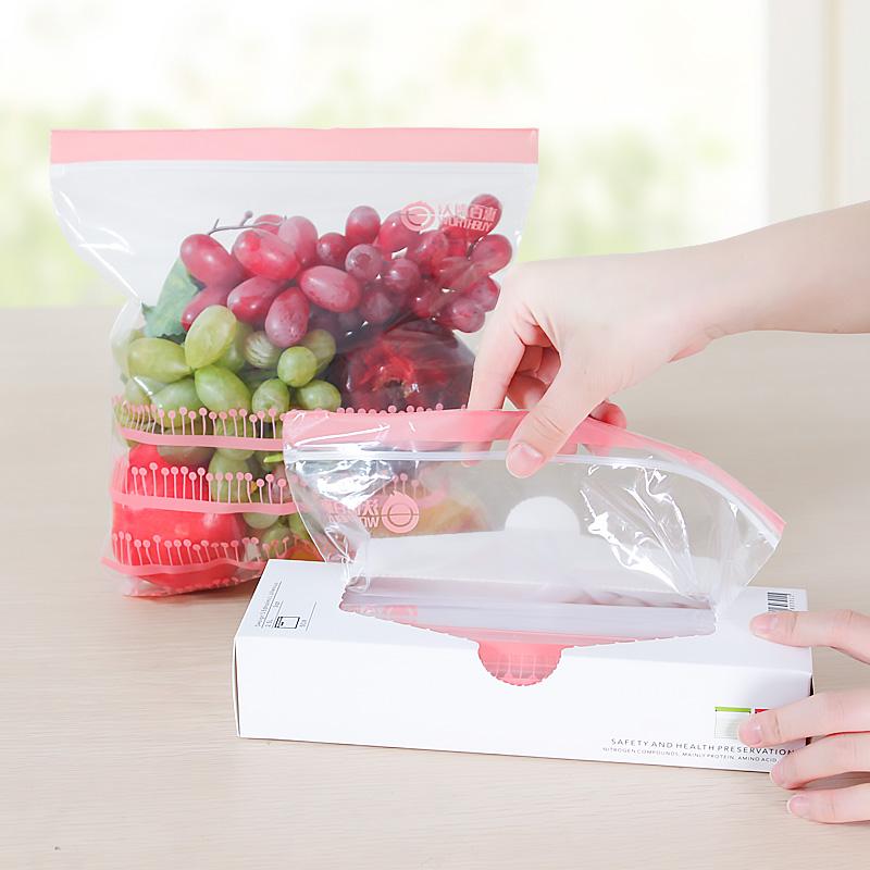 保鲜袋食品袋小号密封袋超市密实袋加厚点一次性冰箱水果大自封袋