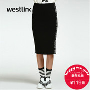 Westlink/West New Korean version 2015 winter tide letter printed long hip step in women's dress
