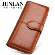 Junlan June haze new ladies wallet large zip around wallet zip Korean version of larger capacity all-leather women's wallet