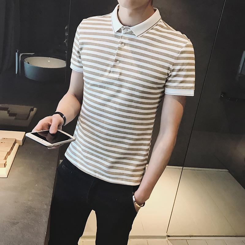 2017夏季新款男士纯棉短袖polo衫翻领韩版快手红人修身短袖男条纹