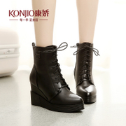 Kang Jiao in autumn and winter shoes boots waterproof boots wedges Martin tide girls UK wind straps tipped with leisure