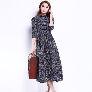 2019 spring new dress retro plate buckle cotton stand collar corduroy cropped sleeves slim floral dress