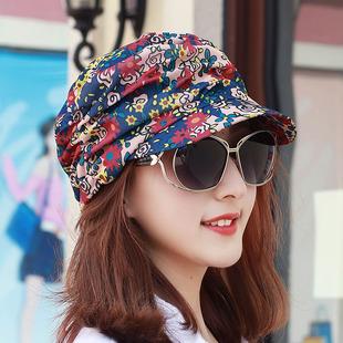 帽子女 韩版春夏可调节鸭舌帽民族风情碎花帽平顶帽中老年妈妈帽
