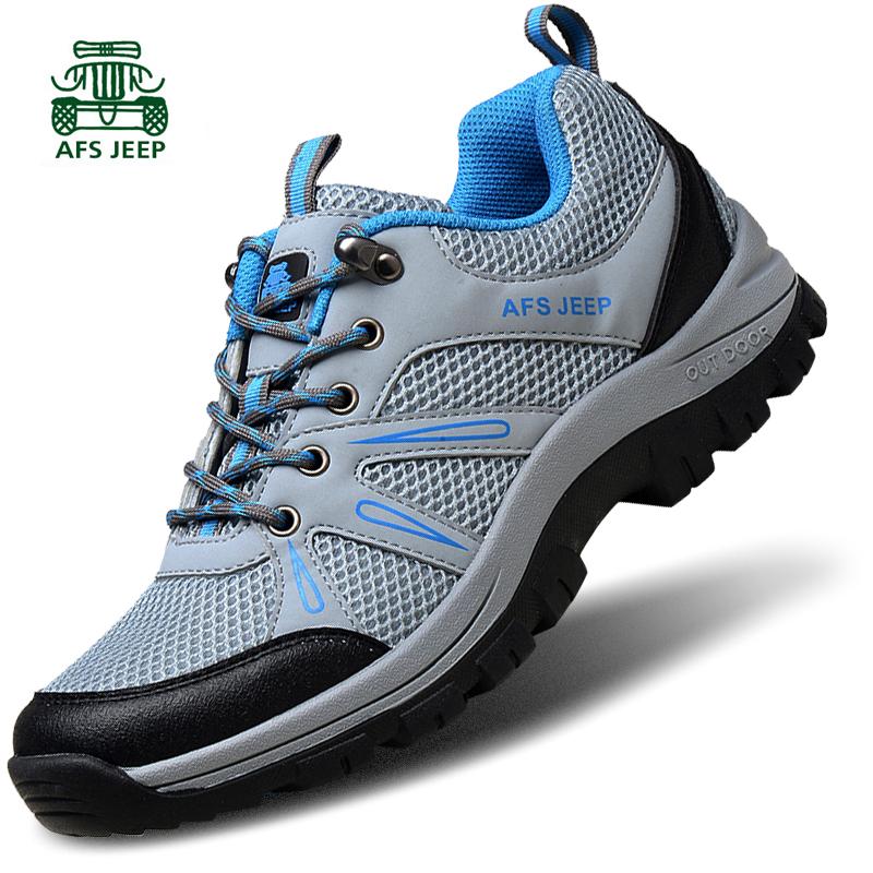 战地吉普户外休闲男鞋运动徒步登山鞋夏季透气新款网面防滑耐磨鞋