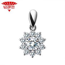 钻伊恋 女人花18k钻石吊坠 白金钻坠群镶砖石项链正品女款项坠