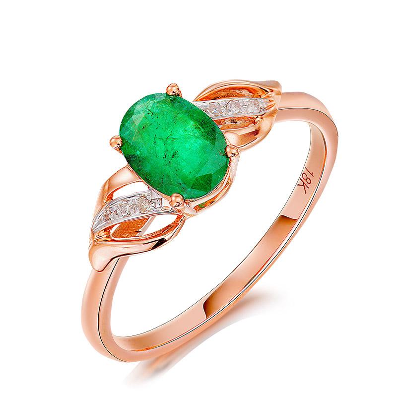 百世代正品高级彩宝 天然绿宝石戒指18k金镶嵌钻石指环彩色定制