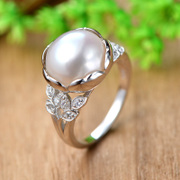 Ms Tai new 925 Silver natural Pearl ring tide exaggerated finger ring in Europe and America the tide