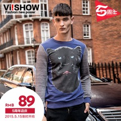 New viishow2015 spring men's Turtleneck Sweater leisure element animal print Turtleneck t man