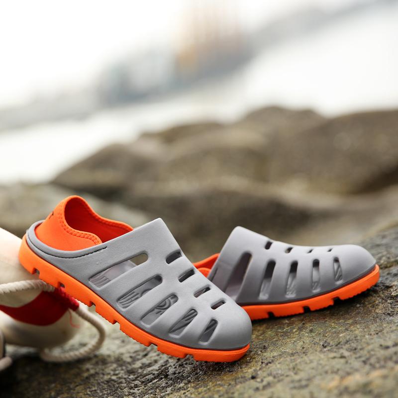 韩版潮流个性男式拖鞋夏季包头凉鞋沙滩鞋青年防滑洞洞鞋休闲凉拖