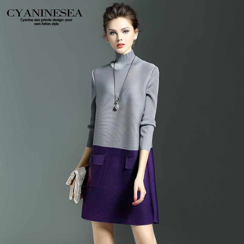 春装新款欧美时尚撞色褶皱一步裙高领长袖宽松连衣裙女