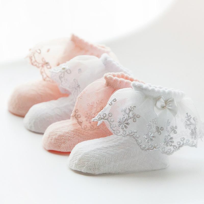 17新款春秋儿童网眼花边袜 全棉女童袜子 宝宝薄款短棉袜婴儿袜